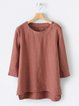 Plus Size Women Tops 3/4 Sleeves Round Neck Casual Blouses