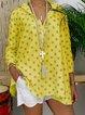 Shirt Collar Casual Stars Printed Blouse