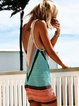 V Neck Women Dresses Beach Boho Color-Block Dresses