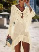 V-Neck Women Dresses A-Line Holiday Cotton Dresses