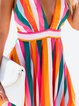 Deep V-Neck Women Dresses A-Line Going Out Paneled Striped Dresses