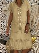 Paneled Tiered V Neck Women Dresses Date Casual Cotton-Blend Dresses