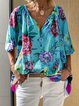 Casual Half Sleeve Floral Printed V Neck Shirts & Tops