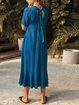 Short Sleeve Casual V Neck Dresses