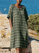 Round Neck Plaid Casual Half Sleeve Dresses