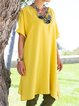 V Neck Women Dresses Going Out Cotton Solid Dresses