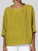 Cotton-blend 3/4 Sleeve Crew Neck Shirts & Tops