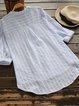 Stripes Half Sleeve Casual Cotton-Blend V Neck Shirts & Blouses