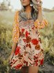 Plus Size Women Half Sleeve V-Neck Vintage Floral Casual Dresses