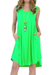 7 Colors Plus Size  Summer Casual V-neck  Sleeveless V-neck T-Shirt Dress With Pockets