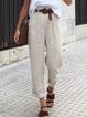 Solid Plain Cotton-Blend Casual Pants