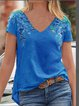 Casual V Neck Short Sleeve Shirts & Tops