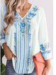 Women Casual V Neck Tops Tunic Blouse Shirt