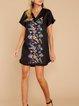 Black Patchwork Holiday Cotton-Blend Dresses