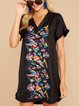 Black Patchwork Holiday Cotton-Blend Dresses