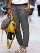 Vintage Cotton-Blend Solid Pants