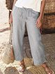 Light Gray Casual Cotton-Blend Solid Pants