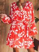 Red Women Dresses Swing Date Boho Floral Dresses