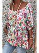 Floral Casual Crew Neck Shirts & Tops