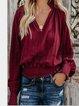 V Neck Plain Casual Shirts & Tops