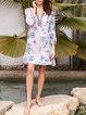 3/4 Sleeve Cotton-Blend Floral Dresses