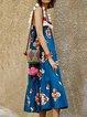 Square Neck Blue Women Dresses Swing Beach Paneled Floral Dresses