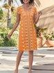 Casual  Guipure Lace Crew Neck Short Sleeve Midi Dress
