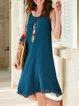 Blue Round Neck Cotton-Blend Boho Solid Dresses