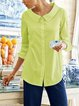 Cotton-Blend Long Sleeve Casual Shirts & Tops