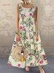 Sleeveless Vintage Printed Maxi Dresses