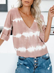 Patchwork Half Sleeve V Neck Casual Shirts & Tops
