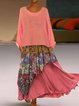 3/4 Sleeve Patchwork Dresses