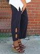 Women Pants Cutout Design Elastic Waist Casual Capri Pants