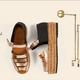 Women Peep Toe Color Block Platform Wedge Sandals