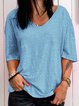 Summer Casual Solid Shirts Half Sleeve V Neck Tops