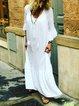 Ruffled Casual V Neck 3/4 Sleeve Dresses