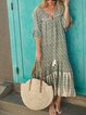 Black Casual V Neck Printed/dyed Chiffon Dresses
