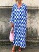 Plus Size Plaid Women Maxi Dresses Long Kaftans