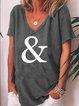 V Neck Printed Cotton-Blend Short Sleeve Shirts & Tops