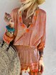 Kaftan Tribal V Neck Shift Daytime Boho Cotton Mini Dresses
