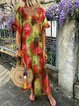 Round Neck Women Summer Shift Boho Printed Maxi Dresses