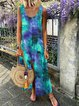 U-Neck Dip-Dyed Women Shift Boho Maxi Dresses