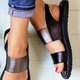 Flat Heel Pu Open Toe Plus Size Slip On Sandals