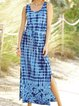 Blue Holiday U-Neck Printed Dresses