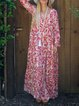Printed/dyed Casual Cotton V Neck Dresses