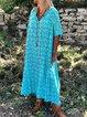 Short Sleeve Floral V Neck Floral-Print Dresses