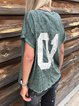 Cotton-Blend Short Sleeve Printed Letter Shirts & Tops