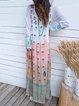 Printed Floral Dip-Dyed V Neck Shift Holiday Maxi Dresses