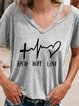 Short Sleeve V Neck Cotton Casual Shirts & Tops