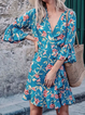 V Neck Women Dresses Going Out Printed Floral Dresses